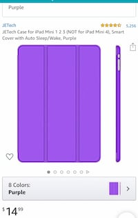 JETech Case for iPad Mini 1 2 3 (NOT for iPad Mini 4), Smart Cover with Auto Sleep/Wake, Purple Henderson, 89012