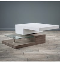 Small rectangular Mod Coffee Table with Glass Laguna Niguel, 92677