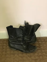 pair of women's black leather combat boots Winnipeg, R2G 1Y9