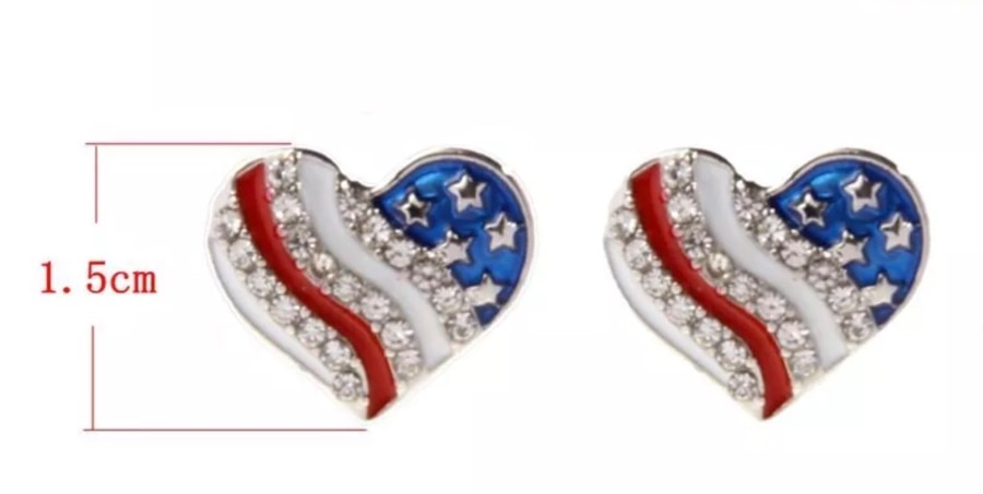 Photo AMERICAN FLAG PATRIOTIC RED WHITE BLUE CRYSTAL HEART STUDS EARRINGS