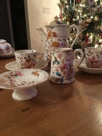 Very old tea pot and cup with cream and sugar cube bowl Surrey, V3X 1A7
