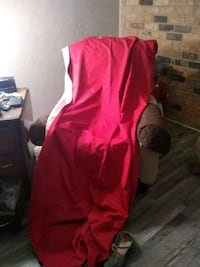 4 panels of long red blackout curtains and ro Red