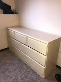 white wooden 6-drawer lowboy dresser Medicine Hat, T1B 1C8