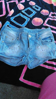Shorts de cuff denim azul
