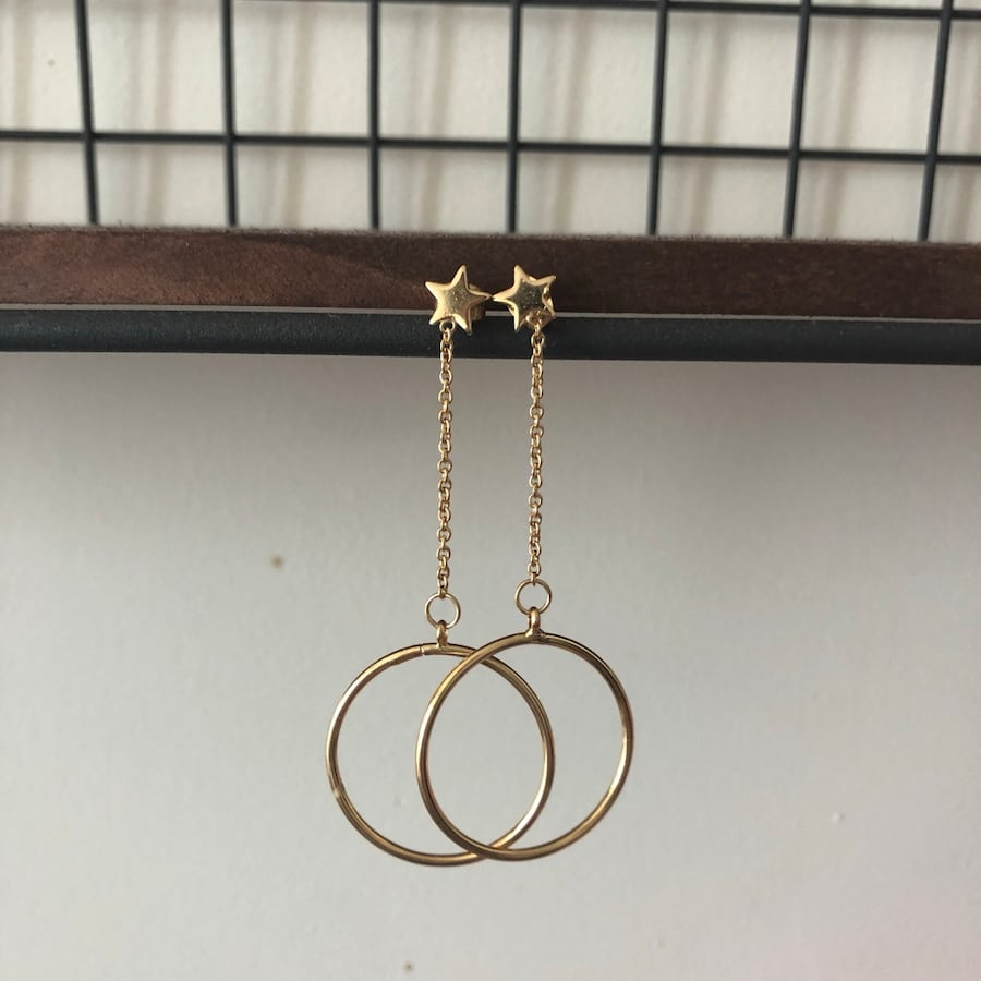 Star stud hoop drop earrings