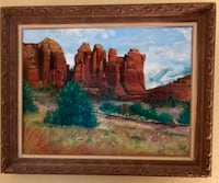 Brown wooden framed painting of house Gilbert, 85295