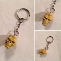 yellow human skull keychain collage