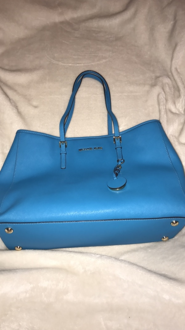 Blue Leather Michael Kors Tote Bag