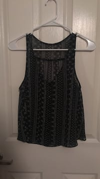 women;s black and gray scoop-neck sleeveless shirt
