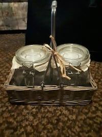 two clear glass jars with lids Lindsay