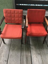 two red padded brown wooden armchairs Toronto, M5R 3B7