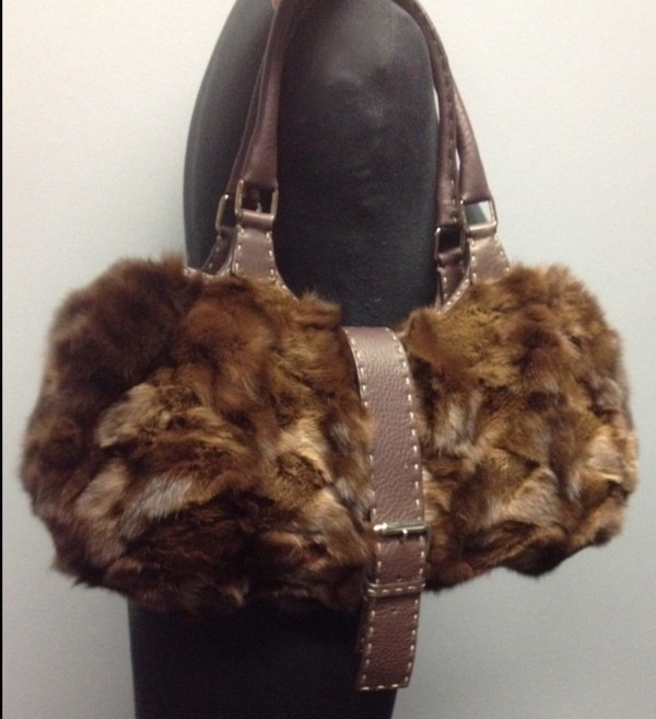 d93f31f89869 Used FENDI Genuine Mink FUR Handbag