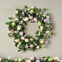 """22"""" Easter Egg and Boxwood Wreath by Valerie"""