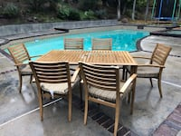 Rectangular brown metal table with six chairs dining set 2286 mi