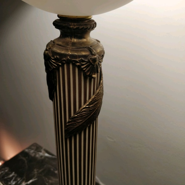 1960s handpainted glass and brass lamp on marble 31bc18bf-d922-4878-a853-0805788e816b