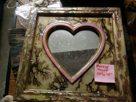 Fractal burned wooden rolling trays and Heart mirror