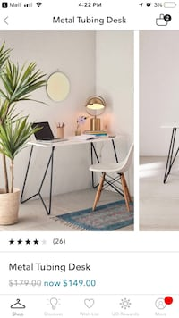 Desk with Metal Tube Legs (UO)