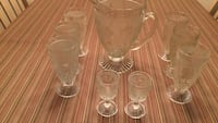 clear cut glass pitcher and drinking glass set 932 mi