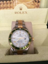 round green bezel Rolex analog watch with silver-and-gold-colored link bracelet Salinas, 93906