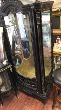 Brown wooden framed glass display cabinet Vaughan, L4L 9G7