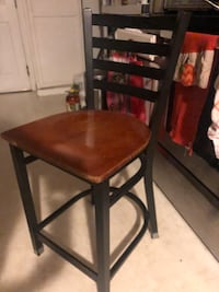 Wood seat and iron back chairs $15 for 3, yes are available