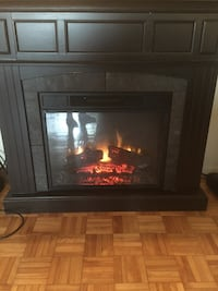black and brown electric fireplace Montréal, H3E 1G2