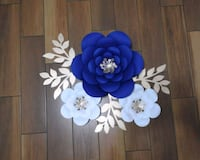 three white and blue paper flower backdrops 27 km