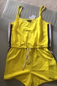 Bright yellow overall shorts from top shop