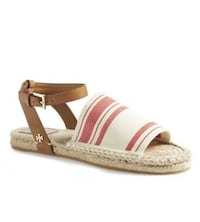 Tory Burch Stretch-Canvas Espadrille Sandal, Awning Ivory/Red Mississauga, L5B 1P2
