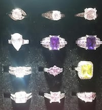 Gorgeous lot of 24 Brand New  Gemstone Colored and Cubic Zirconia Rings Los Angeles