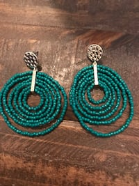 Two teal and green beaded earrings  Longwood, 32750