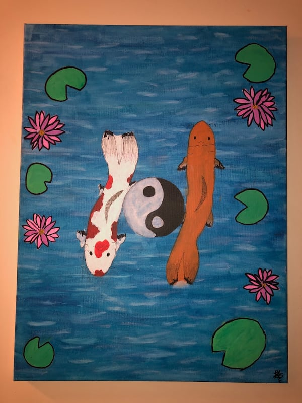 Koi Fish In A Pond Painting bf909bf7-1ce6-4023-a869-9610b0d2a375