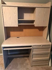 Beige wooden computer desk with hutch/ dresser/ armoire