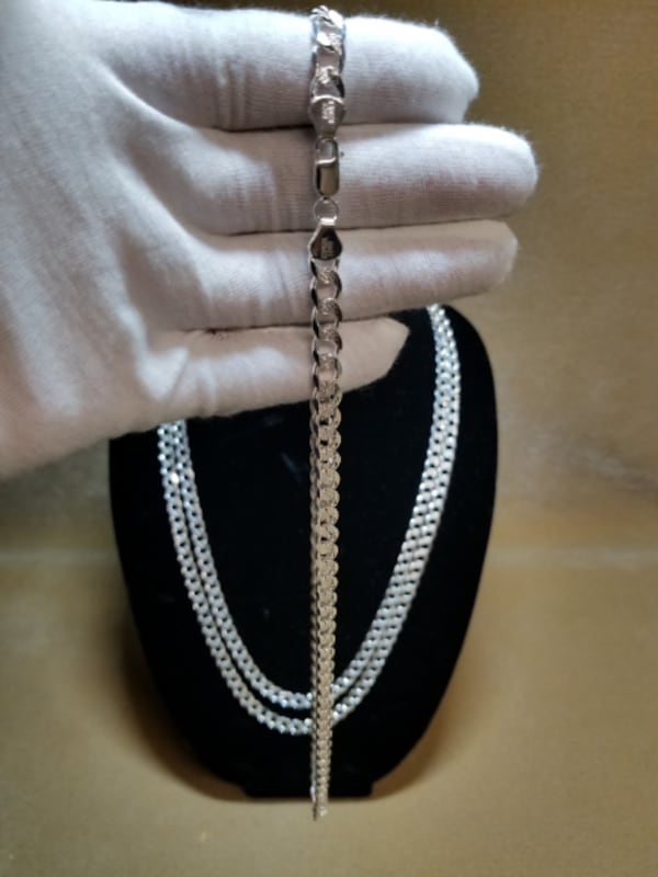 Cuban Curb Link Chain Diamond Cut Necklace .925 Sterling Silver 7mm 6