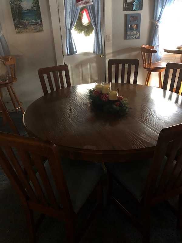 Fantastic 5 Foot Round Oak Dining Table With 7 Chairs Download Free Architecture Designs Xoliawazosbritishbridgeorg