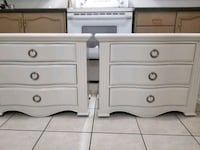 Two beautiful refinished solid wood side tables done in a classic whit Vaughan, L4H 2H2