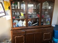 Brown wooden framed china cupboard  HAMILTON