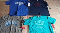 four assorted-color t-shirts