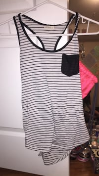 white and black striped pocket tank top