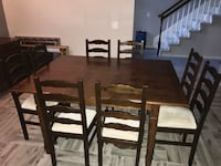 rectangular brown wooden table with six chairs dining set Stafford, 77477