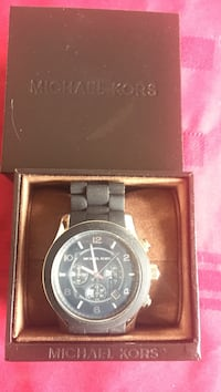 round black Michael Kors chronograph watch with link bracelet Coquitlam, V3K 1J3