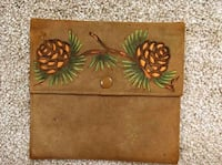 Romantic Mystery Antique Leather Handkerchief Holder with Pinecones Baltimore, 21236