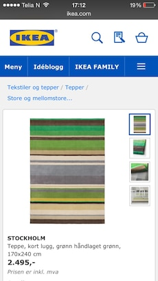 Ikea Stockholm multicolored området teppe