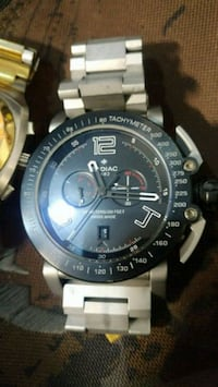 round black and silver chronograph watch with link Calgary, T2G 0J1