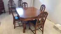 Solid wood Rectangular brown wooden table with 6 chairs dining set Montréal, H1T 1P9