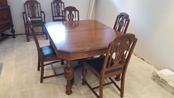 Solid wood Rectangular brown wooden table with 6 chairs dining set
