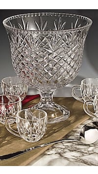 NEW Shannon 10 pc punch bowl with cups & ladle
