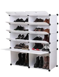 UNICOO - Multi Use DIY Plastic 10 Cube Shoe Rack,Organizer, Bookcase, Shoes Cabinet (25 With Boots Cube, White Wood Grain) Irvine, 92620