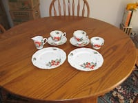 white and red floral ceramic dinnerware set Manassas