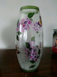 white, pink, and green floral glass vase Arlington, 22202